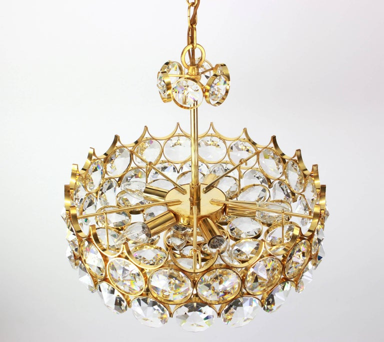 1 of 2 Gilt Brass and Crystal Glass Chandeliers by Palwa, Germany, 1970s For Sale 4