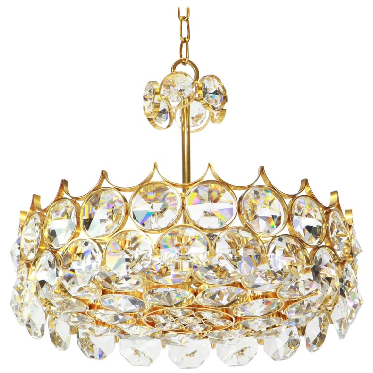 A wonderful and high quality gilded chandelier/pendant light fixture by Palwa (Palme & Walter), Germany, 1970s