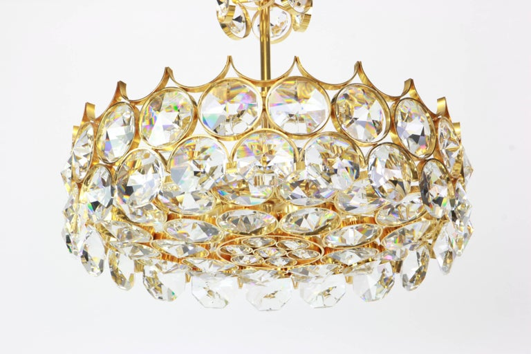 Mid-Century Modern 1 of 2 Gilt Brass and Crystal Glass Chandeliers by Palwa, Germany, 1970s For Sale