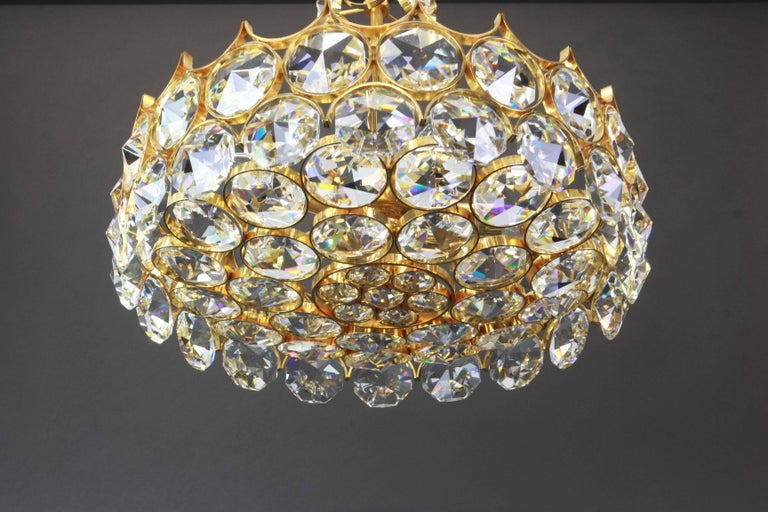Gold Plate 1 of 2 Gilt Brass and Crystal Glass Chandeliers by Palwa, Germany, 1970s For Sale