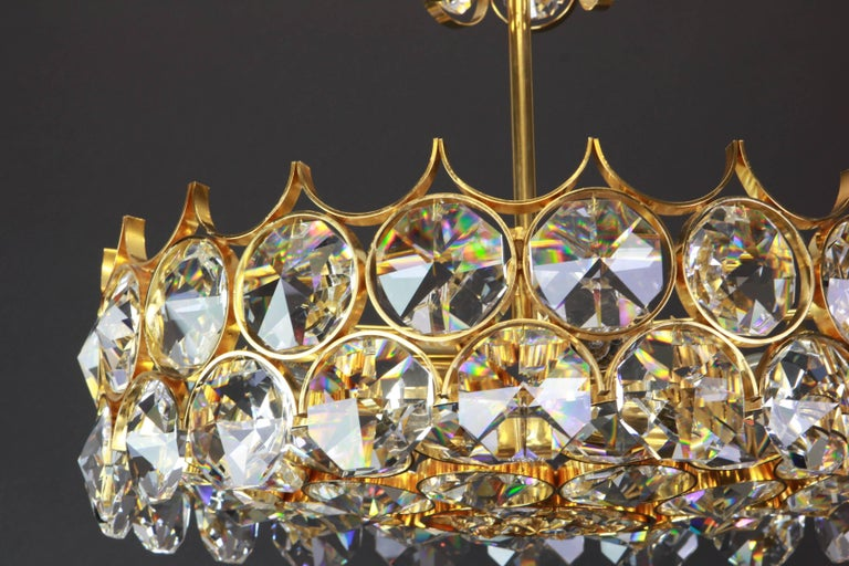 1 of 2 Gilt Brass and Crystal Glass Chandeliers by Palwa, Germany, 1970s For Sale 1