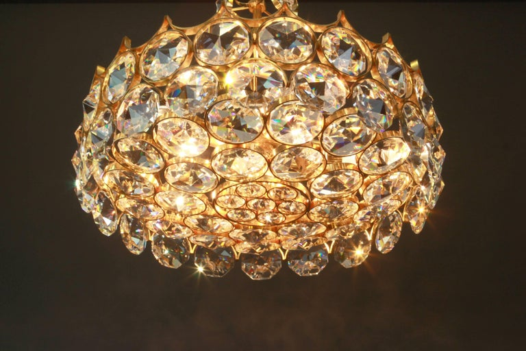 1 of 2 Gilt Brass and Crystal Glass Chandeliers by Palwa, Germany, 1970s For Sale 2