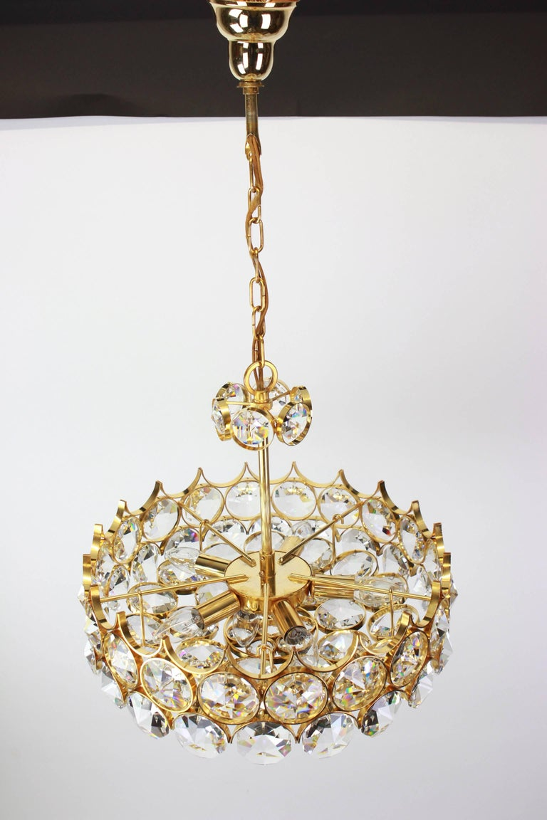 1 of 2 Gilt Brass and Crystal Glass Chandeliers by Palwa, Germany, 1970s For Sale 3