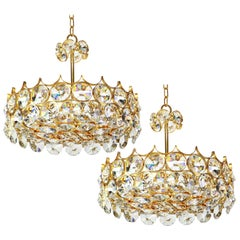 1 of 2 Gilt Brass and Crystal Glass Chandeliers by Palwa, Germany, 1970s