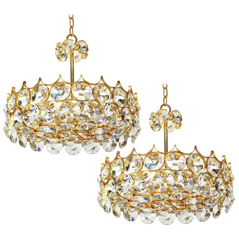 1 of 2 Gilt Brass and Crystal Glass Chandeliers by Palwa, Germany, 1970s For Sale