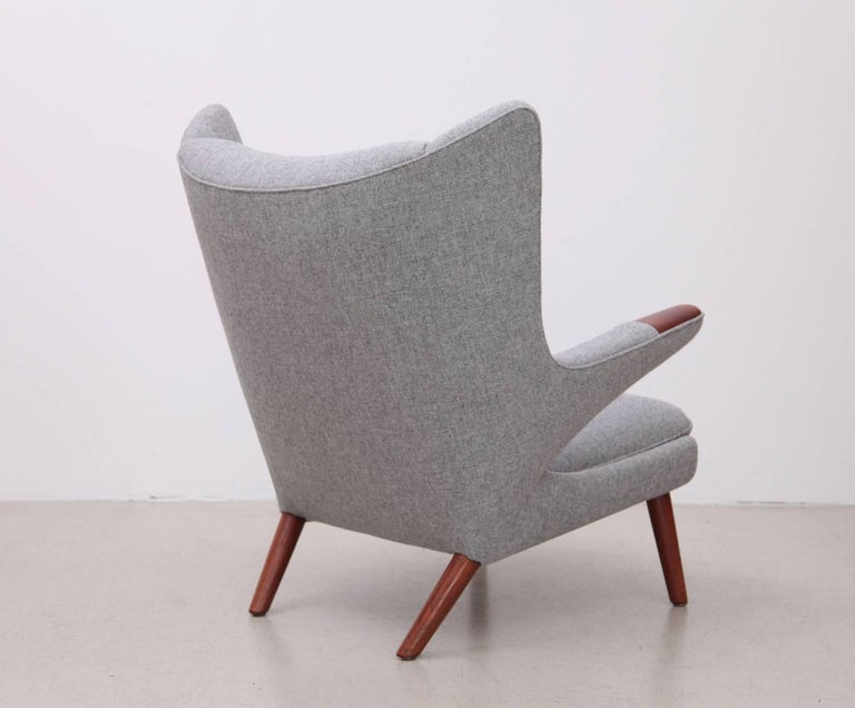 New upholstered Hans Wegner Papa Bear in Kvadrat Hallingdal. Authentic nailed upholstery job on the bottom. We got the chair from the first owner who purchased it in the 1950s in Denmark.
