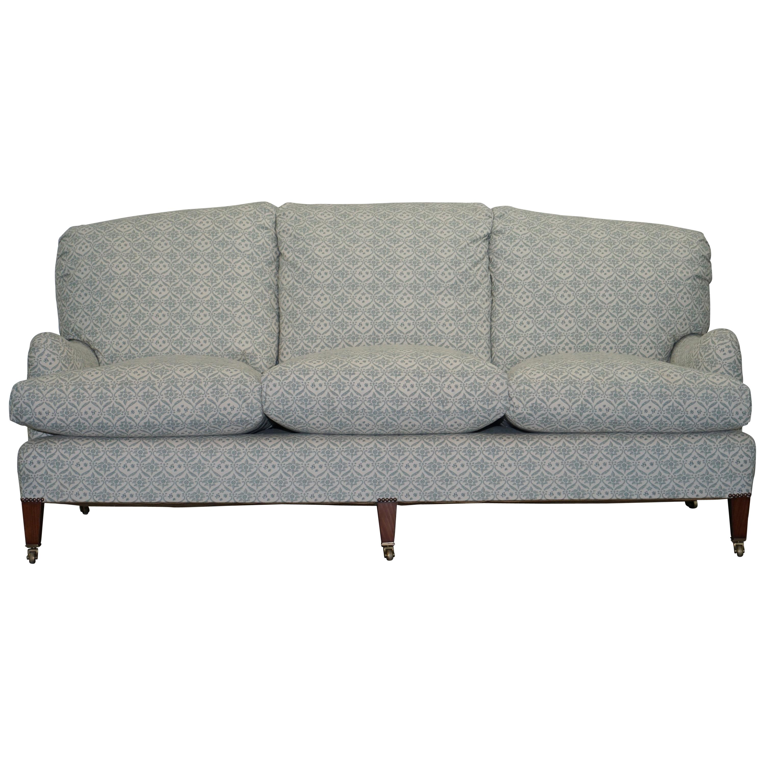 1 of 2 Howard & Sons Fully Stamped Sofa Feather Filled Cushions Ticking Fabric