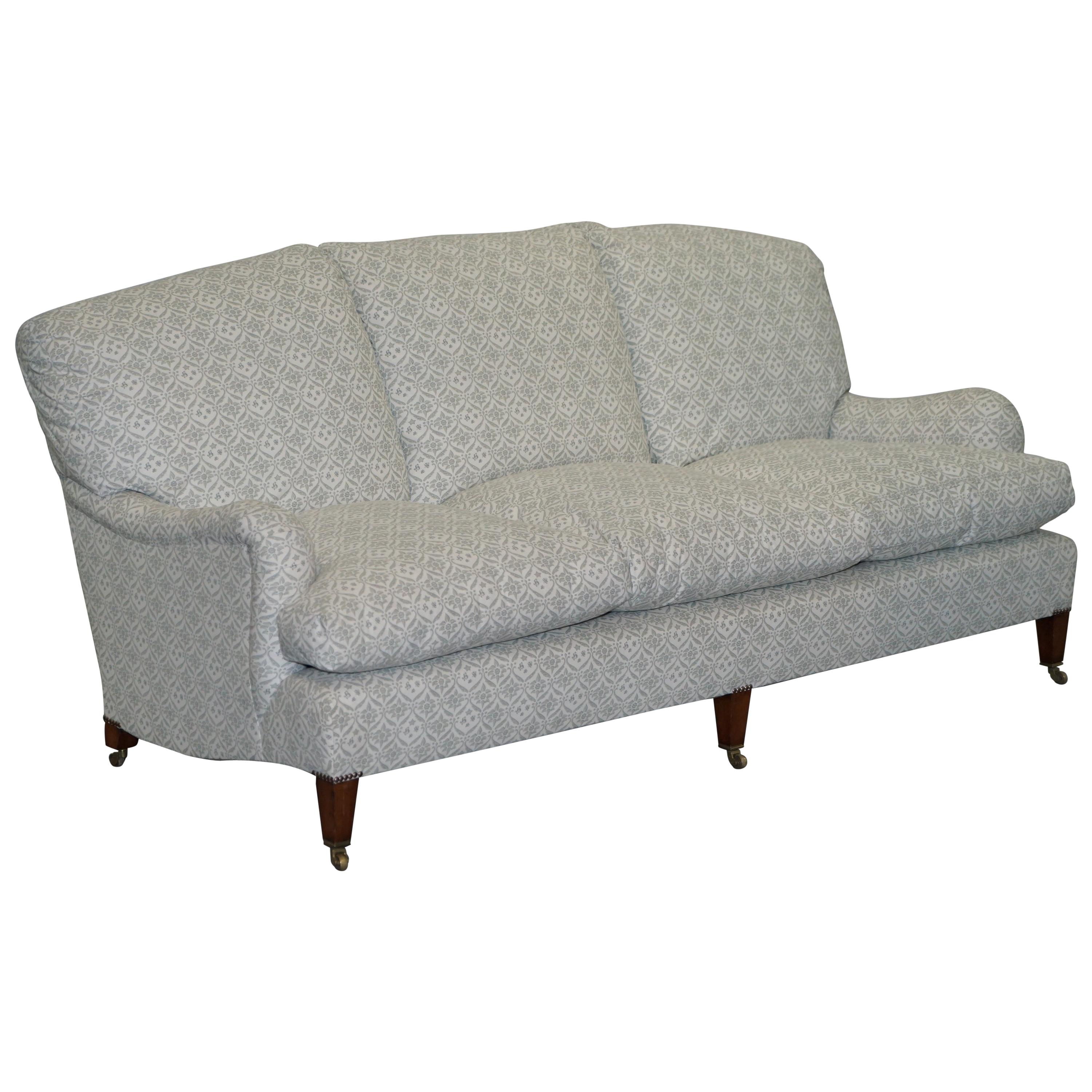 1 of 2 Howard & Sons Fully Stamped Sofa Feather Filled Feather Cushions Ticking