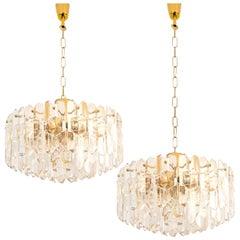 "1 of 2 Huge J.T. Kalmar ""Palazzo"" Light Fixtures Gilt Brass and Glass"