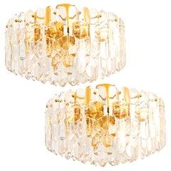 "1 of 2 Huge Kalmar ""Palazzo"" Light Fixtures or Flushmount Gilt Brass and Glass"
