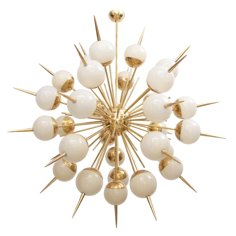 1 of 2 Huge Sputnik Murano Glass and Brass Chandelier For Sale