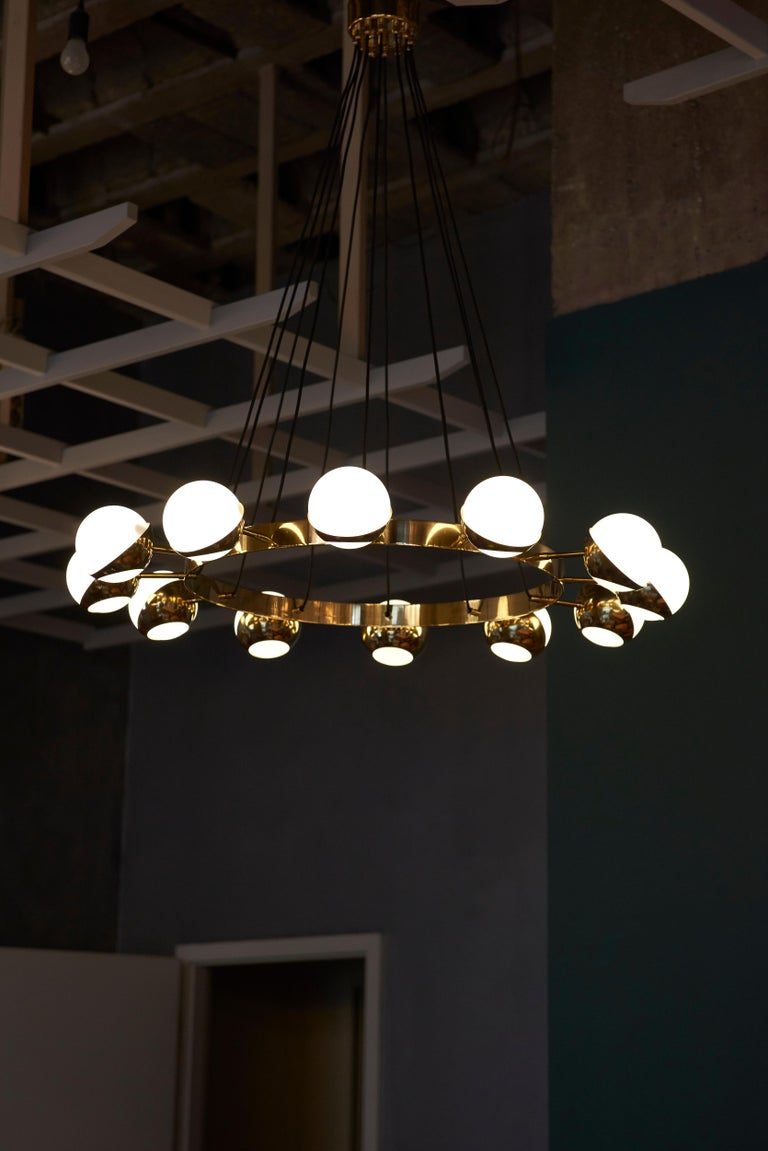 Mid-Century Modern Huge Brass and Murano Glass Chandelier For Sale