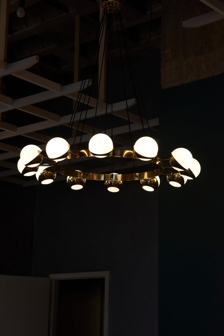 Italian Huge Brass and Murano Glass Chandelier For Sale