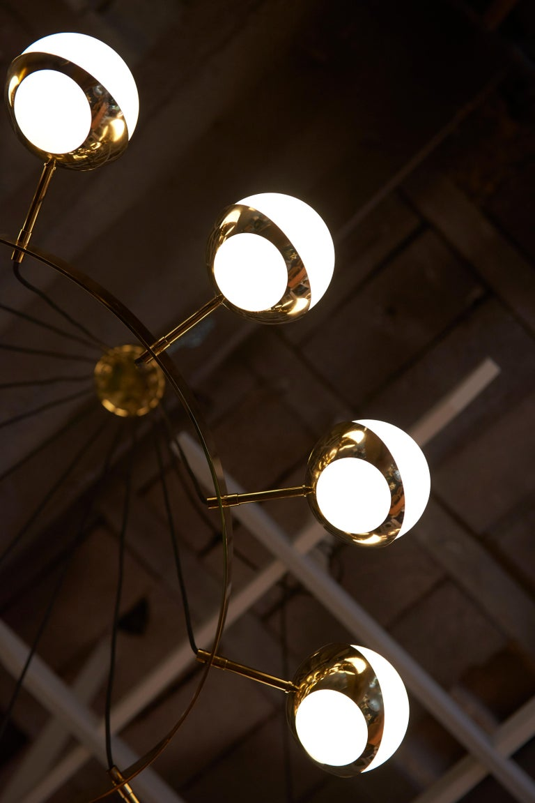 Contemporary Huge Brass and Murano Glass Chandelier For Sale