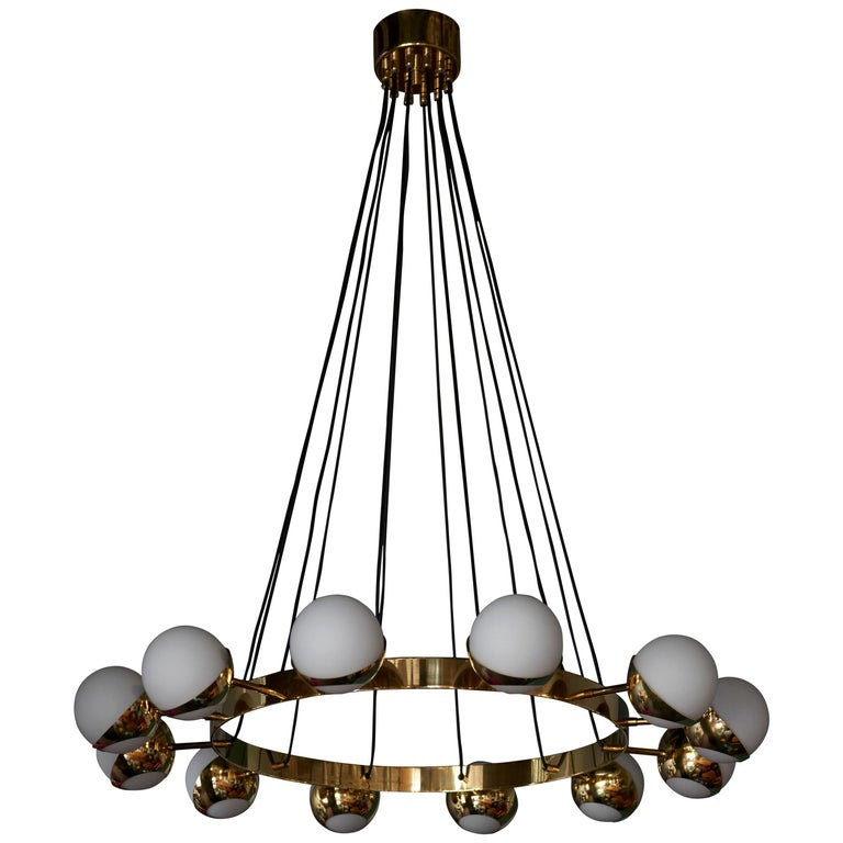 Huge Brass and Murano Glass Chandelier For Sale