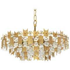 1 of 2 Impressive Large Gilt Brass and Crystal Chandelier, Palwa, Germany, 1960s