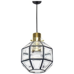 1 of 2 Iron and Clear Glass Pendant Lights by Limburg, Germany, 1960s