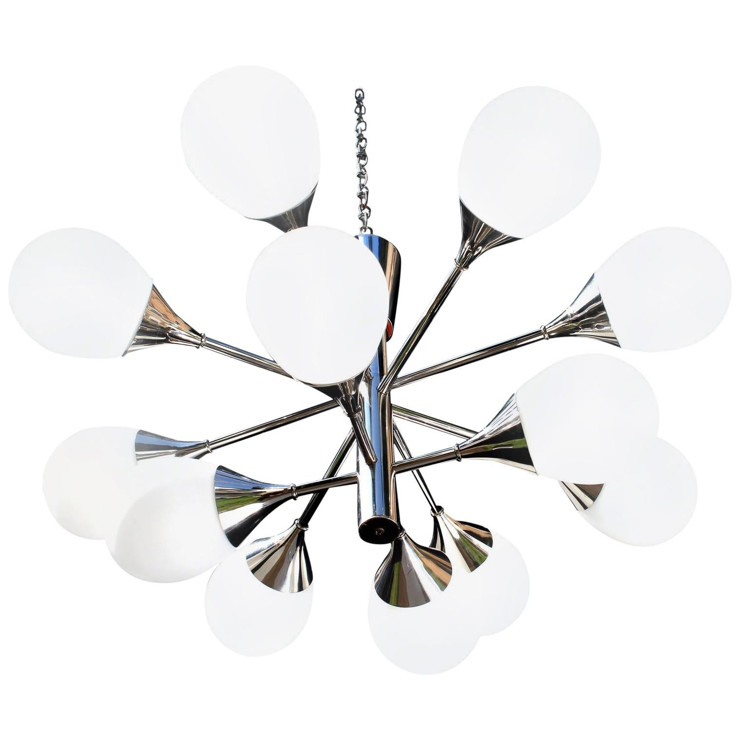 1 of 2 Kaiser Brass Chandeliers, Germany, 1970s