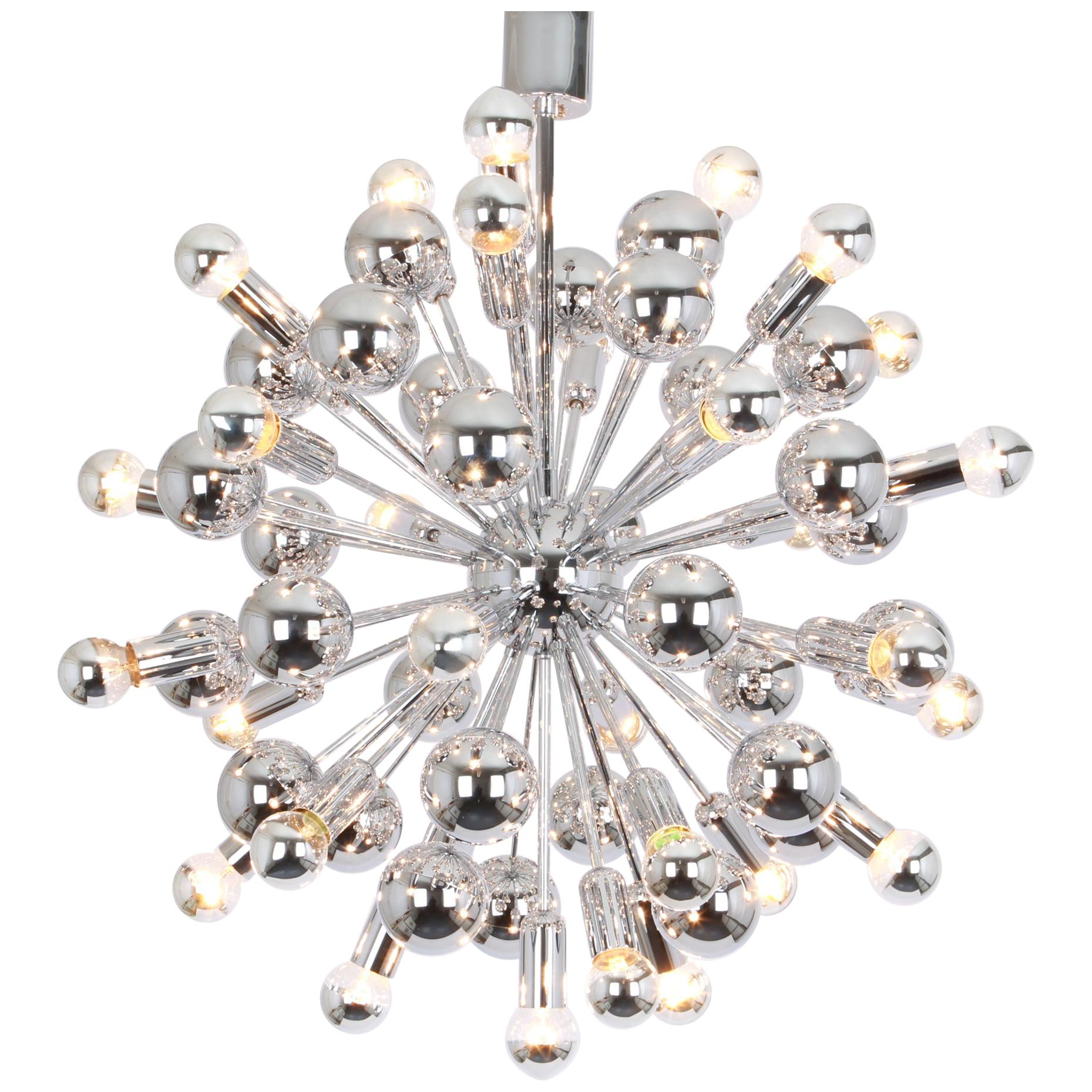1 of 2 Large Chrome Space Age Sputnik Chandelier by Cosack, Germany, 1970s