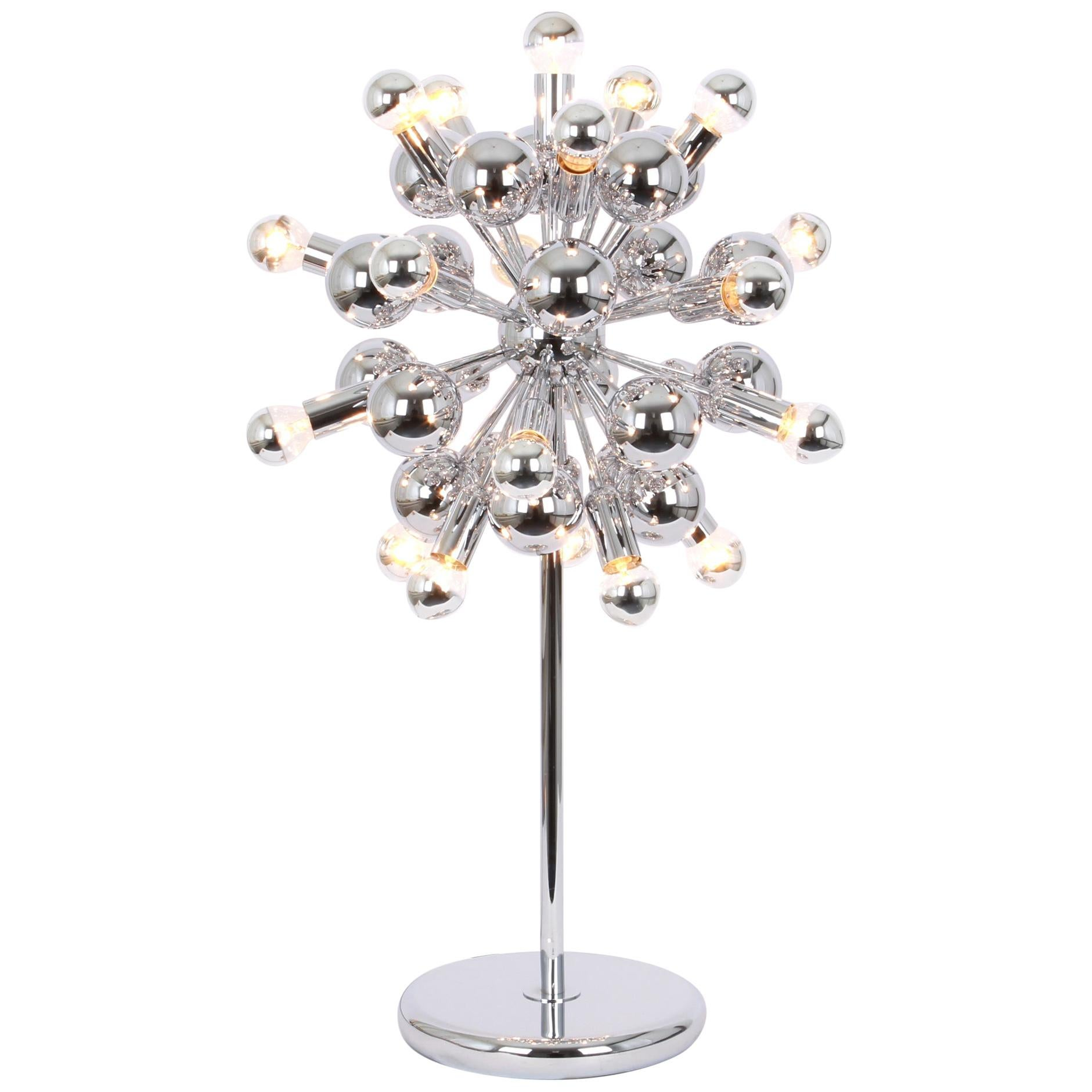 1 of 2 Large Chrome Space Age Sputnik Table Lamps by Cosack, Germany, 1970s