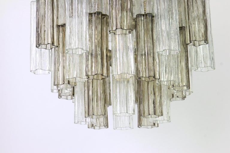 Austrian 1 of 2 Large Murano Glass Chandelier Design Venini for Kalmar, Austria, 1960s For Sale