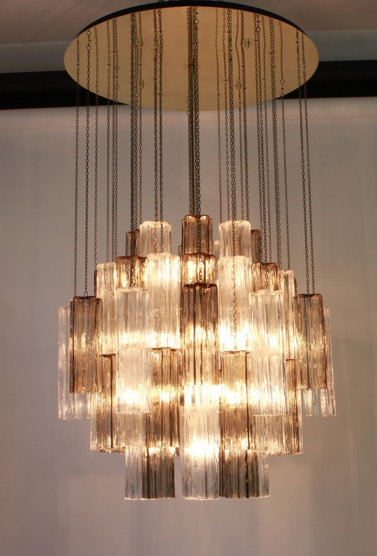 Mid-20th Century 1 of 2 Large Murano Glass Chandelier Design Venini for Kalmar, Austria, 1960s For Sale