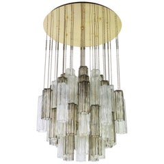 1 of 2 Large Murano Glass Chandelier Design Venini for Kalmar, Austria, 1960s