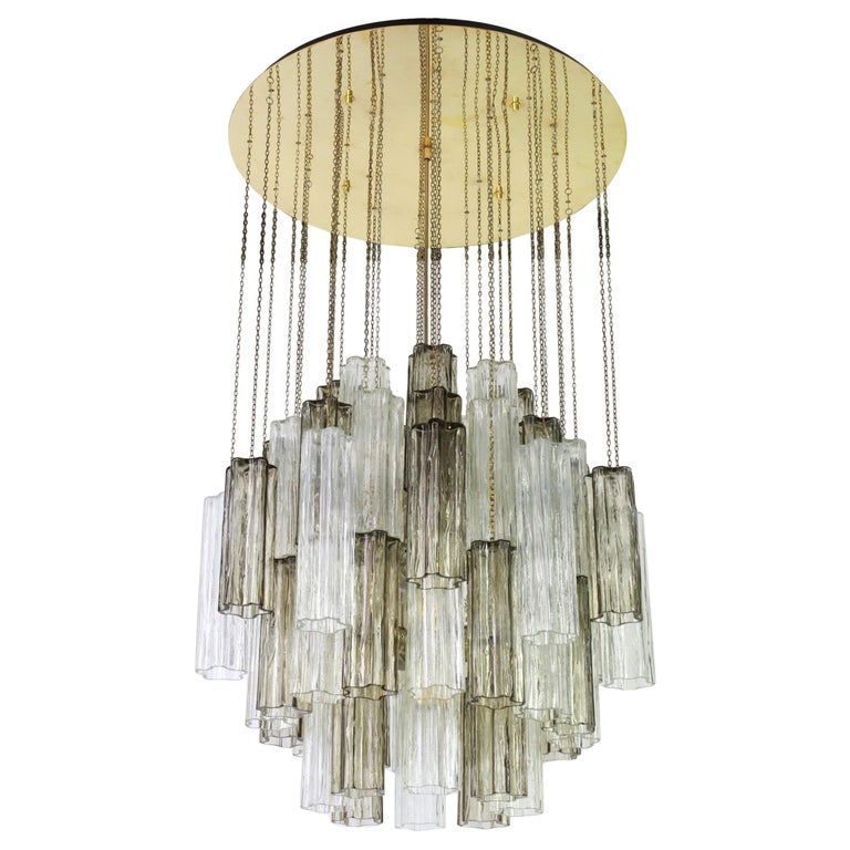 1 of 2 Large Murano Glass Chandelier Design Venini for Kalmar, Austria, 1960s For Sale