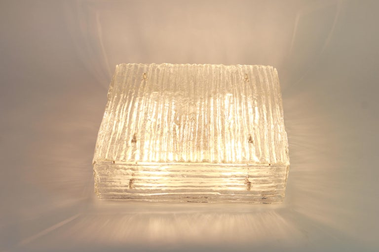 Metal 1 of 2 Large Murano Glass Flush Mount by Kalmar, Austria, 1960s For Sale