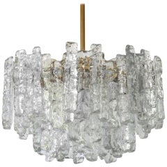 1 of 2 Large Murano Ice Glass and Brass Chandelier by Kalmar, Austria, 1960s