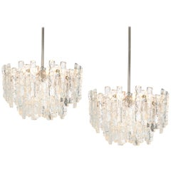 1 of 2 Large Murano Ice Glass Chandelier by Kalmar, Austria, 1960s