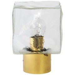 1 of 2 Large Murano Ice Glass Wall light by Kalmar Cube, Austria, 1960s