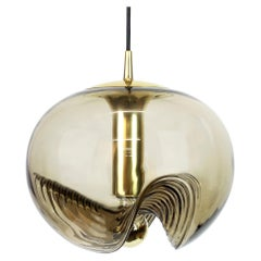 1 of 2 Large Smoked Glass Pendant Light by Peill & Putzler, Germany, 1970s