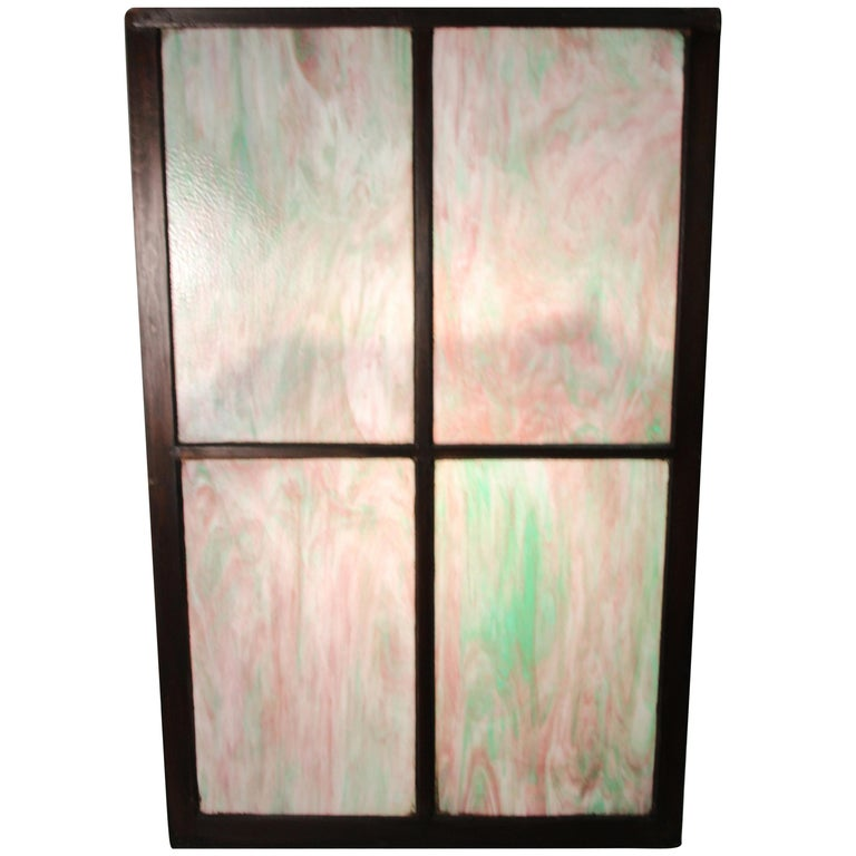 1 of 2 Large Turn of the Century Four-Panel Stained Glass For Sale