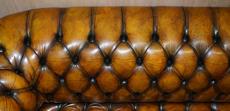 1 of 2 Lovely Hand Dyed Restored Whisky Brown Pleated Leather Chesterfield Sofa For Sale 4