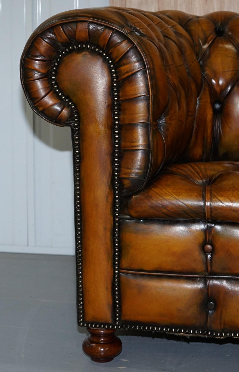 1 of 2 Lovely Hand Dyed Restored Whisky Brown Pleated Leather Chesterfield Sofa For Sale 5