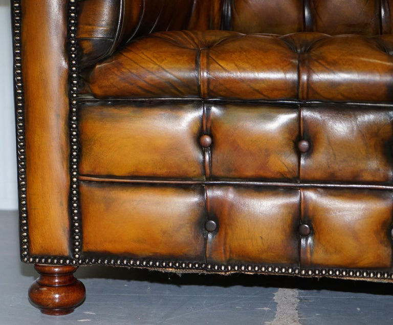1 of 2 Lovely Hand Dyed Restored Whisky Brown Pleated Leather Chesterfield Sofa For Sale 7