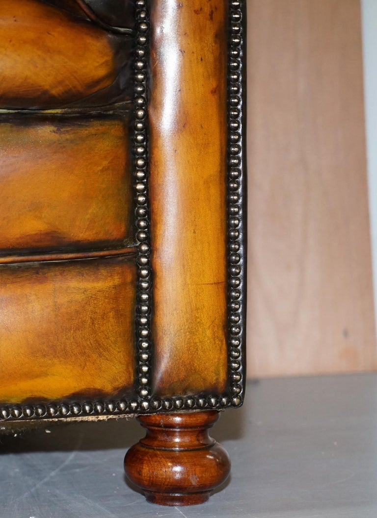 1 of 2 Lovely Hand Dyed Restored Whisky Brown Pleated Leather Chesterfield Sofa For Sale 9