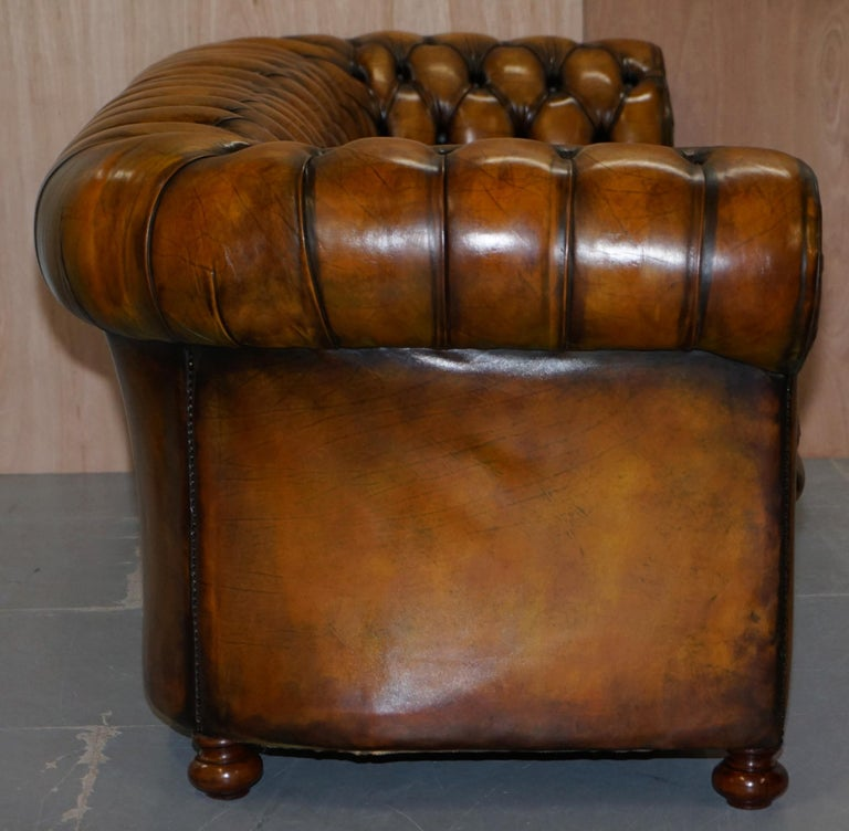 1 of 2 Lovely Hand Dyed Restored Whisky Brown Pleated Leather Chesterfield Sofa For Sale 10