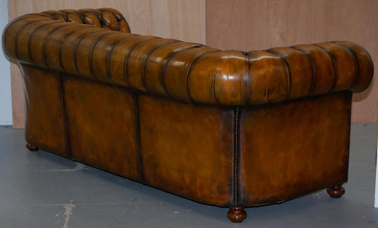 1 of 2 Lovely Hand Dyed Restored Whisky Brown Pleated Leather Chesterfield Sofa For Sale 11
