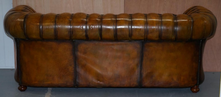 1 of 2 Lovely Hand Dyed Restored Whisky Brown Pleated Leather Chesterfield Sofa For Sale 12
