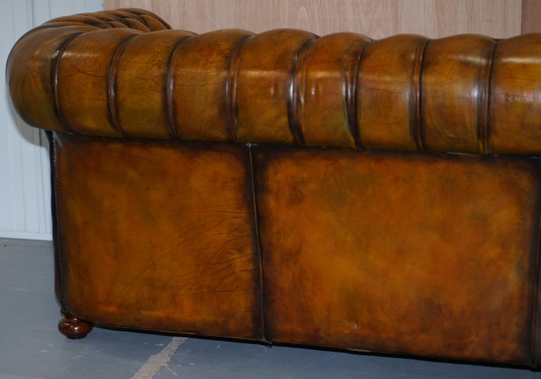 1 of 2 Lovely Hand Dyed Restored Whisky Brown Pleated Leather Chesterfield Sofa For Sale 13