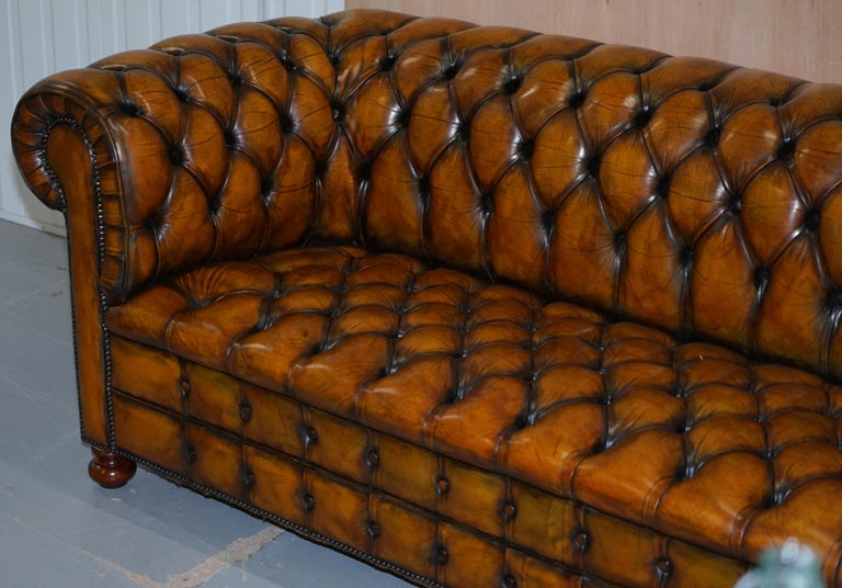 English 1 of 2 Lovely Hand Dyed Restored Whisky Brown Pleated Leather Chesterfield Sofa For Sale