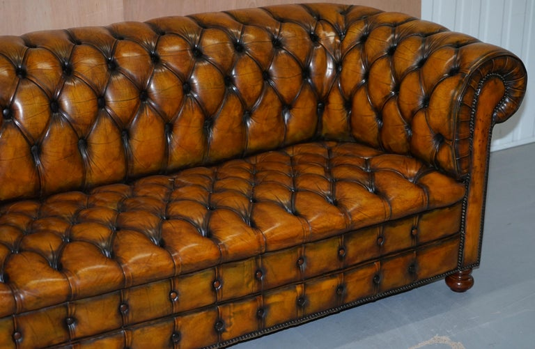 Hand-Crafted 1 of 2 Lovely Hand Dyed Restored Whisky Brown Pleated Leather Chesterfield Sofa For Sale