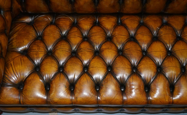 20th Century 1 of 2 Lovely Hand Dyed Restored Whisky Brown Pleated Leather Chesterfield Sofa For Sale