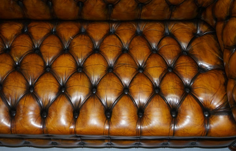 1 of 2 Lovely Hand Dyed Restored Whisky Brown Pleated Leather Chesterfield Sofa For Sale 1