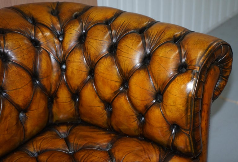 1 of 2 Lovely Hand Dyed Restored Whisky Brown Pleated Leather Chesterfield Sofa For Sale 3
