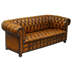 1 of 2 Lovely Hand Dyed Restored Whisky Brown Pleated Leather Chesterfield Sofa
