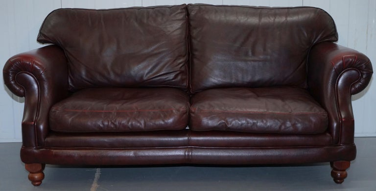 1 of 2 Lovely Thomas Lloyd Consort Oxblood Leather Three-Seat Sofas
