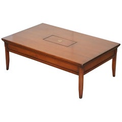 1 of 2 Mahogany Harrods Kennedy Military Campaign Coffee Table Internal Storage